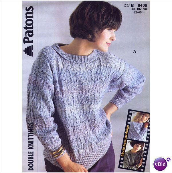 Ladies Sweater Jumper Double Knitting Pattern Womens Dk