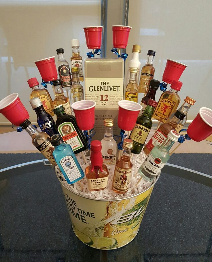the liquor bouquet we made for a 21st birthday present. Black Bedroom Furniture Sets. Home Design Ideas