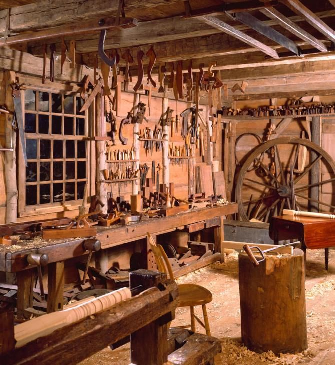 Dominy Clock Shop and Woodworking Shop with all their tools are reconstructions of shops used by the Dominy family, four generations of craftsmen who worked in East Hampton, New York, from the mid-1700s to the mid-1800s. Historic photographs and architectural drawings document the working environment of these rural Long Island artists have been preserved in Winterthur, DE.