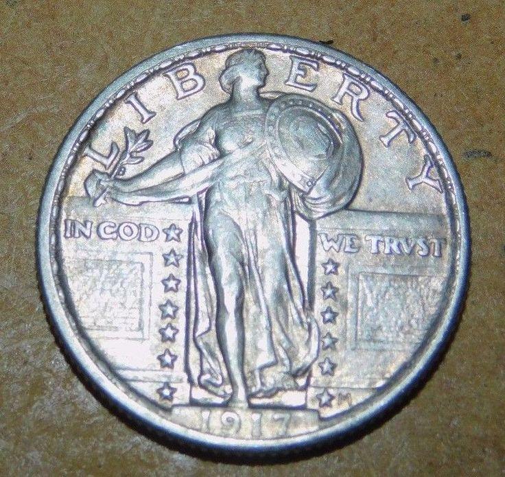 1917 Type 2 Quarter Dollar  : VF + Condition  Original Patina  -  Lot No. 153