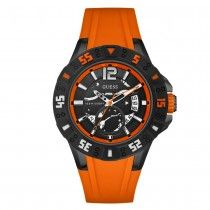 Guess Date Orange Rubber Strap W0034G8