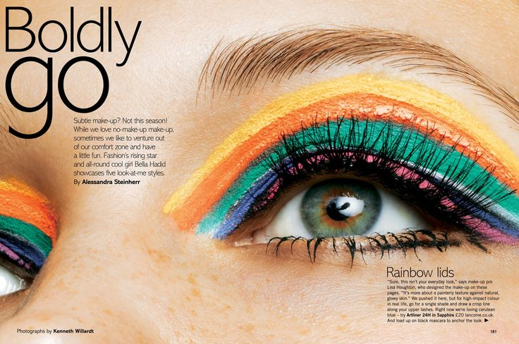 hazel green eyes with rainbow makeup