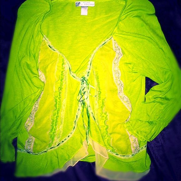 Young Essence Unique light lime jacket Large Gosh I wished this fit me. Young Essence light frilly Shabby Sheek jackets . Definitely a head turner ~ lime green ~ cotton, satin & lace size large ~ Used light wear, many years of gorgeous use still in this great piece Young Essence Tops Blouses