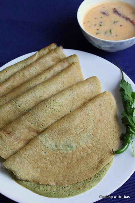 Pesarattu Or Mung Dal (Green Gram) Dosa Or Crepes | Cooking With Thas