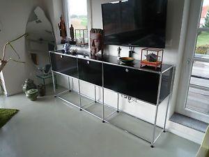 USM-Haller-Sideboard-Lowboard-schwarz-komplett-neu-beschichtet