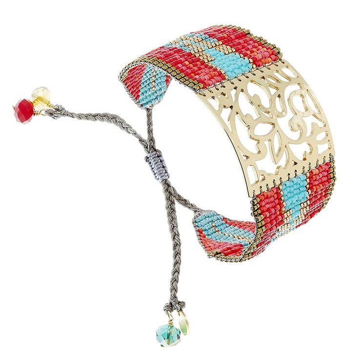 Bracelet manchette Arabesque (corail et turquoise)