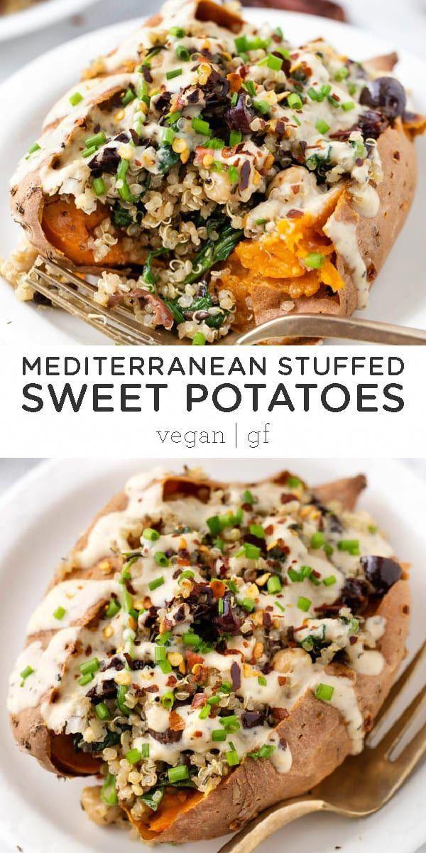 Vegan Stuffed Sweet Potatoes With Mediterranean Quinoa Recipe Vegan Dinner Recipes Sweet Potato Recipes Easy Vegan Dinner
