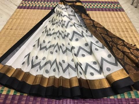 Black & white kanchi silk cotton saree with waves and polka dots pattern - new