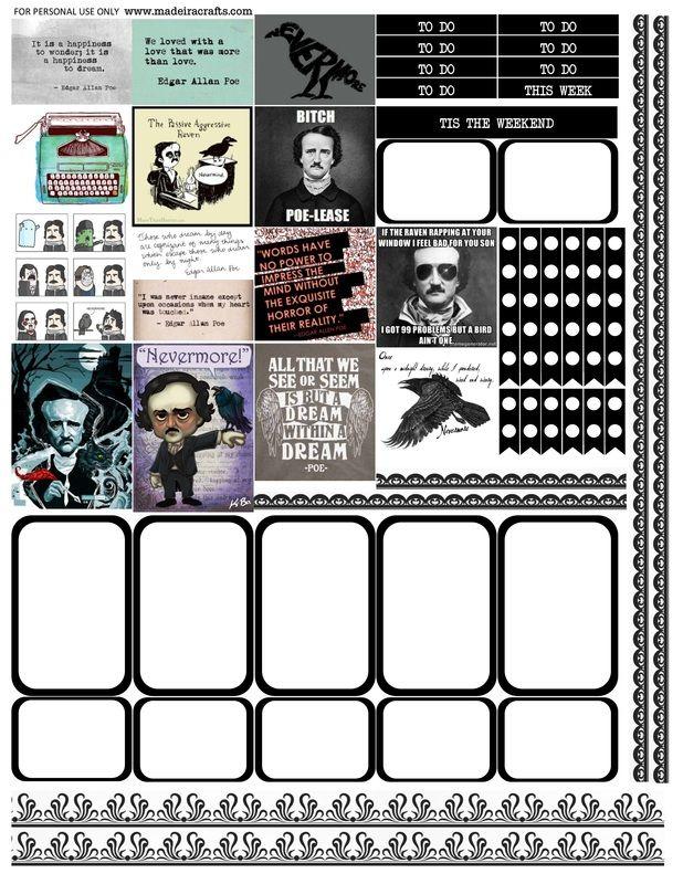 Edgar Allan Poe free printable planner stickers for the MAMBI Happy Planner or Erin Condren Life Planner vertical.