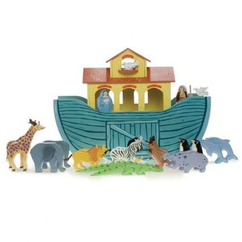 The animals went in 2 by 2!  This big, beautiful painted ark includes 10 pairs of hand-finished painted wooden animals plus Noah and his wife.  A sliding panel in the hull and a hinged front hatch allow the animals to safety board and disembark the ark.