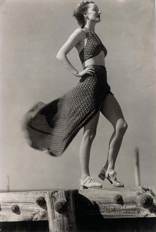 MARTIN MUNKACSI (1896-1963) Peignoir in a Soft Breeze, June 1936; Harper's Bazaar December, 1935