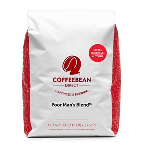 Coffee Bean Direct Poor Man's Blend™ Ground Coffee, 5-Pound Bag.    One 5 pound sack of Poor Man's Blend™ ground coffee  This medium dish is a solid, full-seasoned espresso with an adjusted body and direct acidity  Cupping Notes: Sugar Cane | Citrus | Dark Chocolate | No Flavoring Added  Putting bistro quality little group, craftsman espresso in your coffeemaker  Roasted in the USA