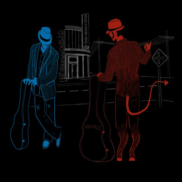 Were Robert Johnson's guitar skills the result of a deal with the Devil who he meet at Mississippi cross roads? Some say yes! Get the tee 'Cross+Road+Blues' on TeePublic! http://bit.ly/1tqWEnE