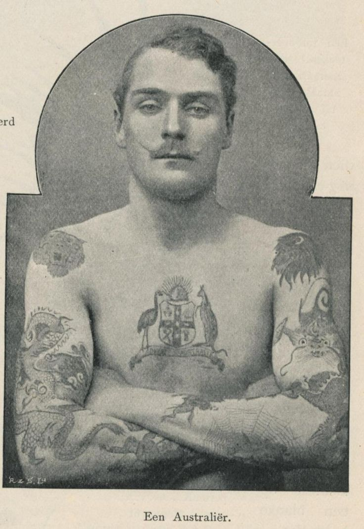Sailor showing his earned tattoos 1890s