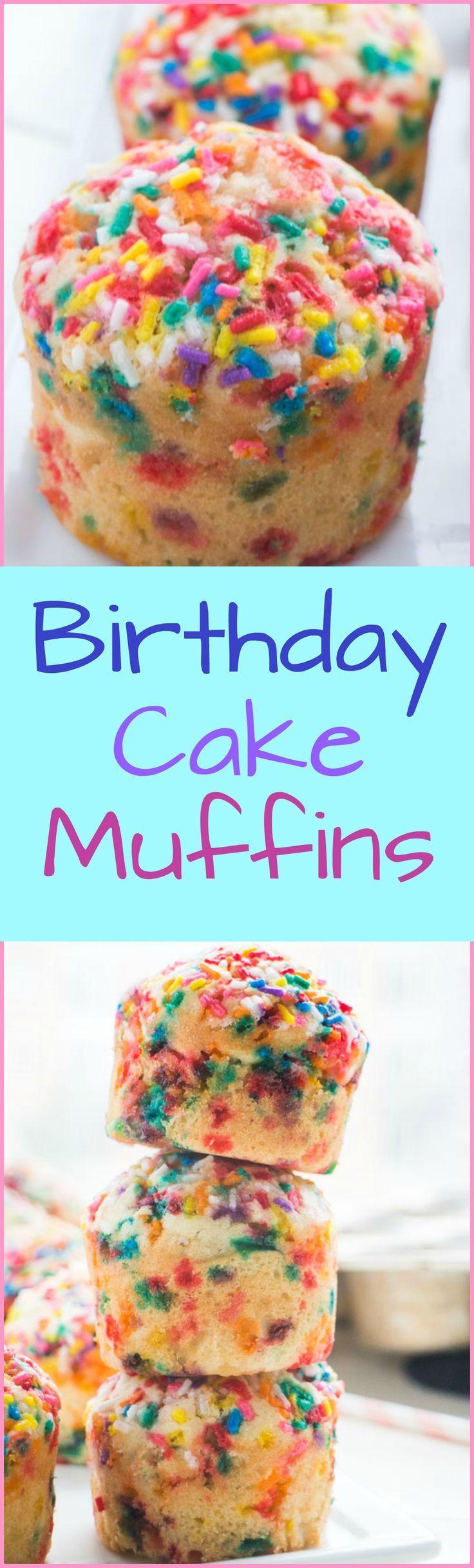 Fluffy Birthday Cake Muffins that taste just like cake! Recipe makes 12 muffins.