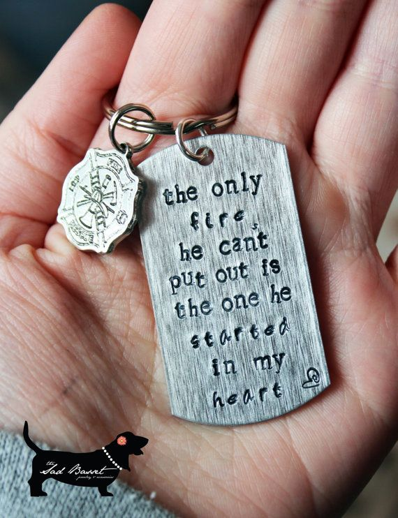 Handstamped Firefighter Love Keychain with Firefighters Cross Charm. $15.00, via Etsy.