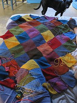 Project to use up all of those leftovers!  Looks much less daunting than knitting it all in one piece!
