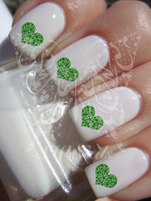 Saint Patrick's day Irish Nail Art Shamrock Green Heart leprechaun Water Decals Transfers Wraps