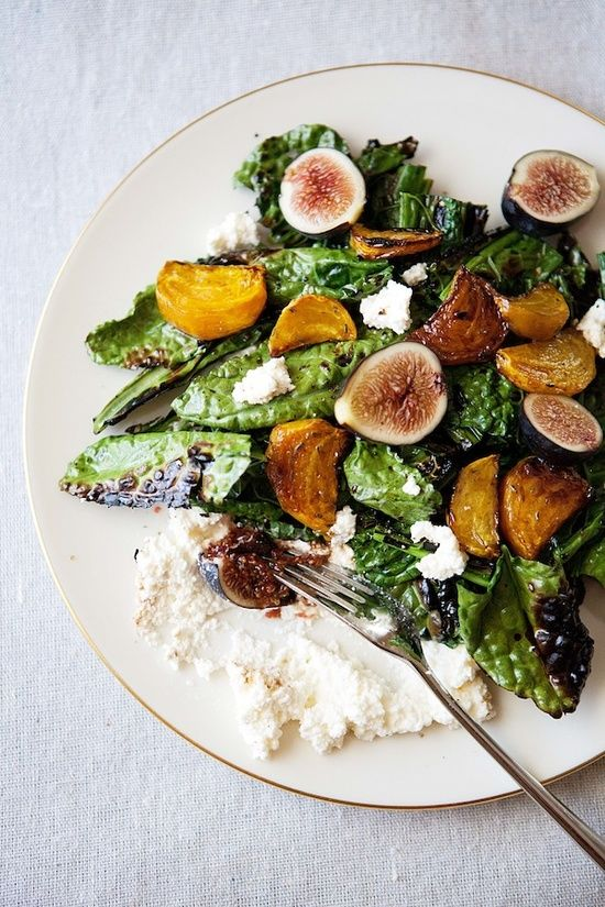 Grilled Kale Salad with Beets, Figs, and Ricotta | Five and Spice  I would so do this with vegan ricotta!!