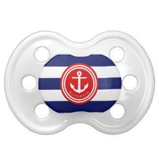 プレッピーな海軍赤の航海のでストライプないかりのモノグラム おしゃぶり