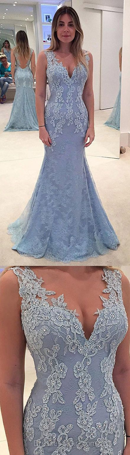 Blue Formal Dresses, Long Prom Dresses, Lace Party Dresses, Elegant V neck dress perfect for busty ladies.