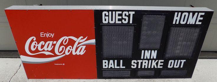 "real Coca Cola baseball scoreboard Electro-Mech little league man cave sign 83"" #CocaCola"