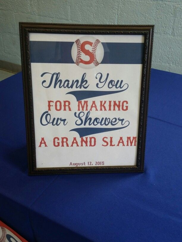 Thank you sign for an AllStar baseball theme baby shower
