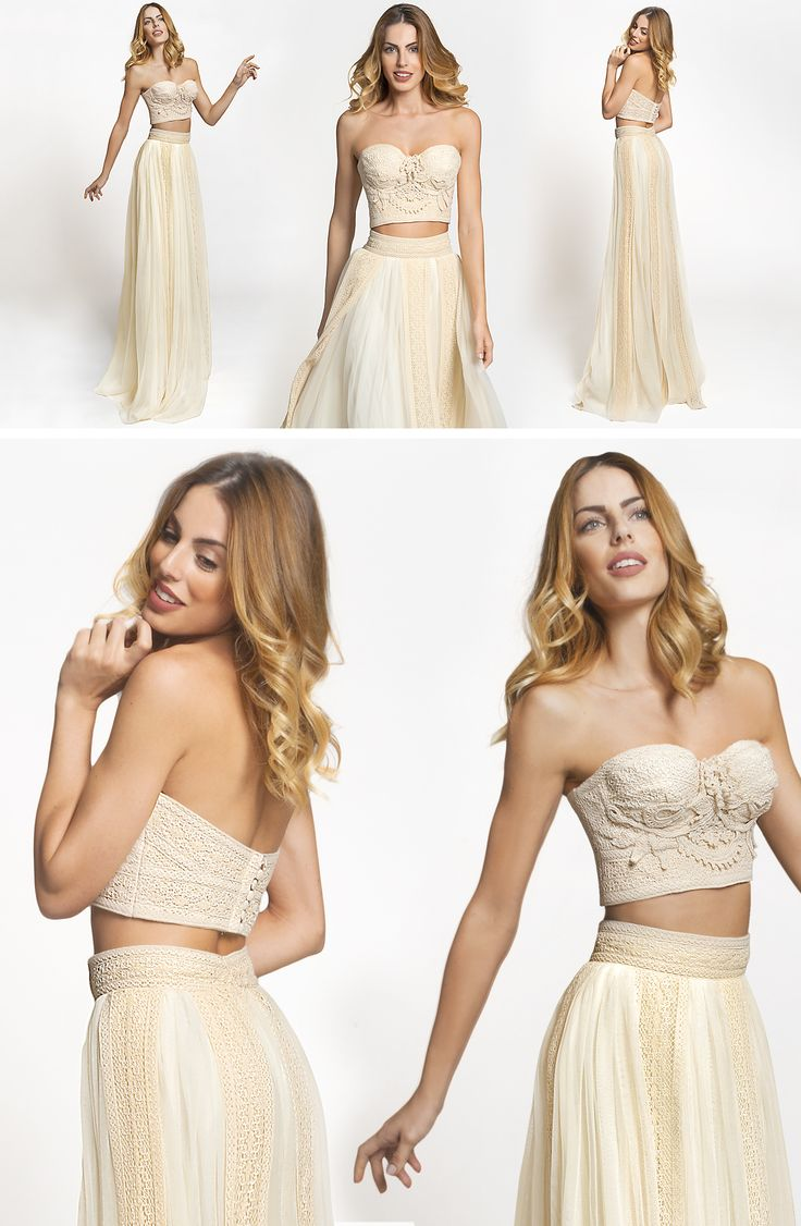 Loira dress from the Hellenic Vintage Crop Top collection seems ideal for summer weddings and bohemian brides.