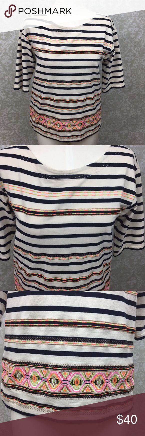 🌞J. Crew Aztec Embroidered Print Striped Tee J. Crew Neon Aztec Embroidered Print Striped Quarter Sleeve Tee Womens Small   Armpit to armpit measurement: 19 inches  Length: 24 inches  This has been gently worn with no major flaws.  Please refer to photos for more details. J. Crew Tops Blouses