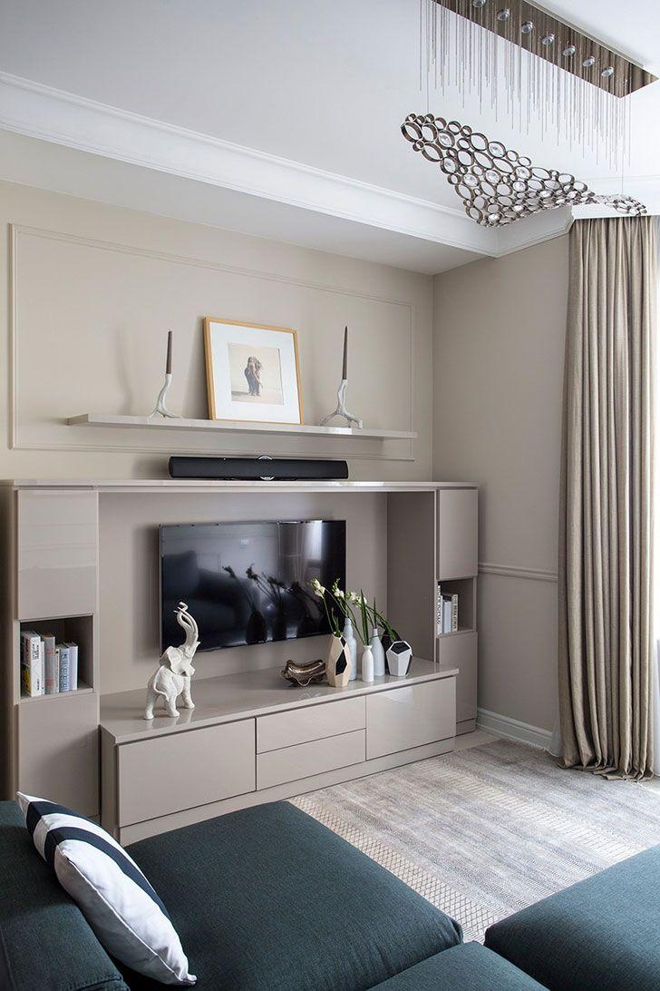 Квартира в спокойных тонах для девушки в Москве (84 кв. м. Wall Unit Designs,  Living Room ...