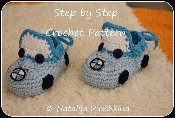 Crochet Pattern Baby booties BMW cars (PDF pattern with 100 Photos and Diagramm) - crochet baby shoes via Etsy