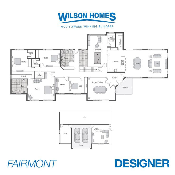 Fairmont Floor Plan by Wilson Homes - Designer Series - With Formal and Informal Living areas, Rumpus and Multi Purpose Room makes this design a home for each Family member to have their own privacy. #twostoreyhomeplans #wilsonhomes