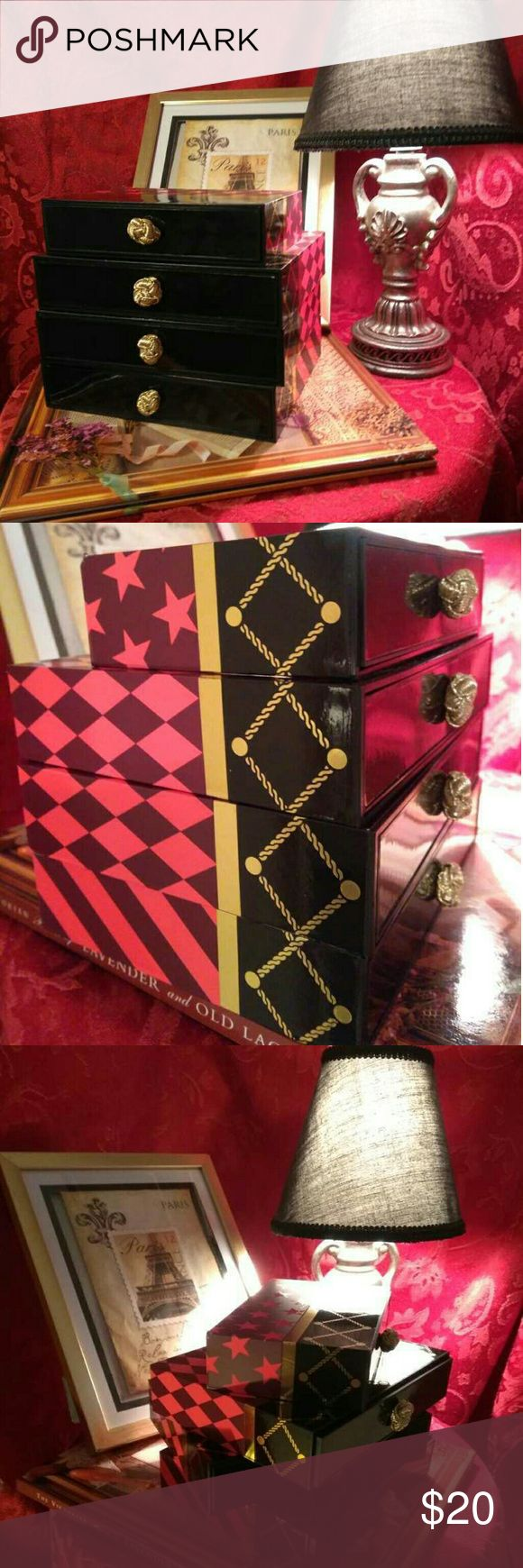 M.A.C. Makeup Box Set PRACTICALLY VINTAGE...This pretty makeup box set features different patterns of zig zag, stars and diamond. Knob of each drawer is gold fabric giving a touch of vintage. Can be used for storage of eye shadows,tubes and pots of lipstick and masacara. Excellent condition. Message for specific details♤ MAC Cosmetics Makeup