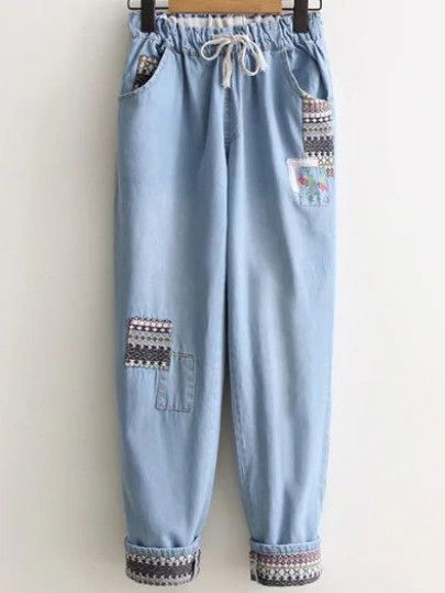 Pantalones en denim con estampado étnico con cordón - azul claro