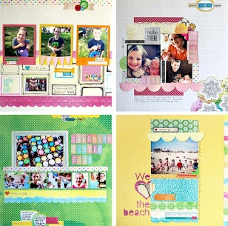 Collage of 4 layouts created by Lisa Andrews  Scrapbook Circle Daydreamer kit
