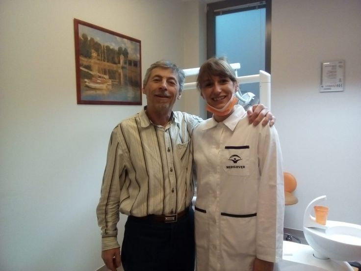 Harry with his dentist after the dental treatment