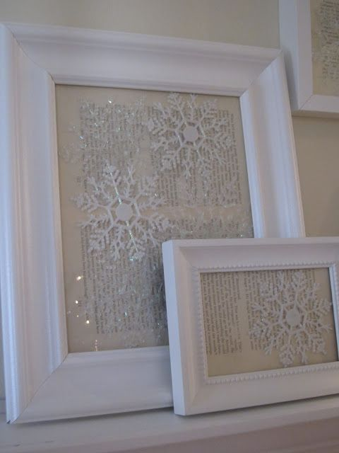 Dollar Store Snowflake Ornaments Against Vintage Paper In Photo Frames.