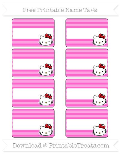 free rose pink horizontal striped hello kitty name tags
