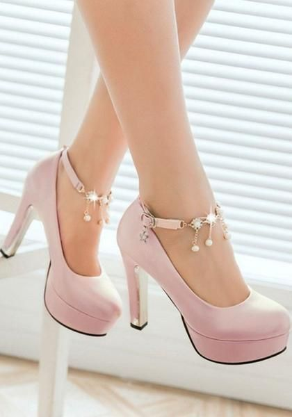Pink Round Toe Chunky Chain Sweet Buckle High-Heeled Shoes