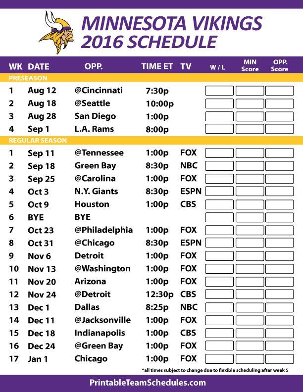 Minnesota Vikings Schedule 2016