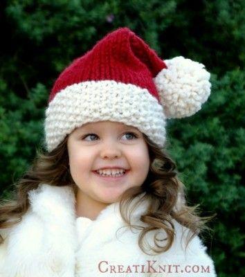 Santa hat, Free knitting and Knitting patterns on Pinterest