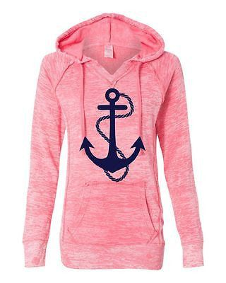 Women's Burnout V Notch Deep Coral Anchor Hoodie long sleeve Sweatshirt Anchor