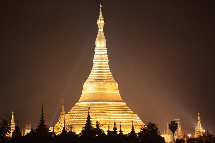 Rangoon, Yangoon, Burma, Myanmar. Shwegadon Pagoda at night.