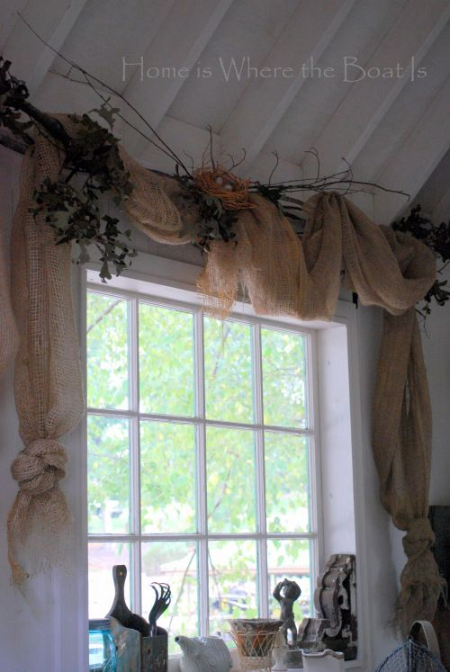 Nesting & Window Dressing | Home is Where the Boat Is : Burlap Window Dressing