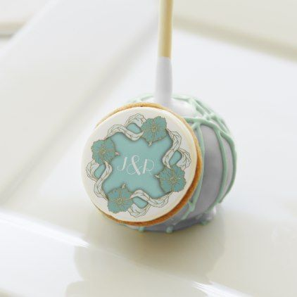 Turquoise Monogram floral wedding Cake Pops - monogram gifts unique design style monogrammed diy cyo customize