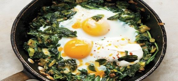 Een lekker koolhydraatarm ontbijtgerecht, gebakken eieren met spinazie en yoghurt. Heerlijk ei recept met spinazie, prei, lente ui en yoghurt.