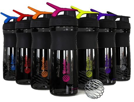 "BlenderBottle® SportMixers - Available in a variety of colors (black/color and full color) and a 20 oz ""mini"" size!"