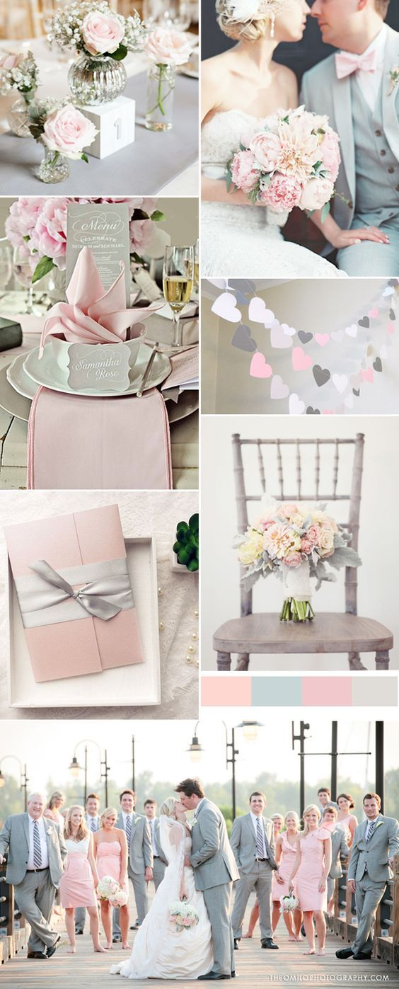 pink and grey wedding trends for spring weddings: More
