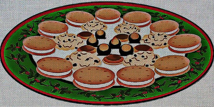 Needlepoint Canvas - Buckeyes candy christmas cookies