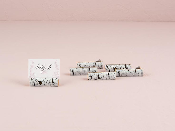 Faux birch log place card holders